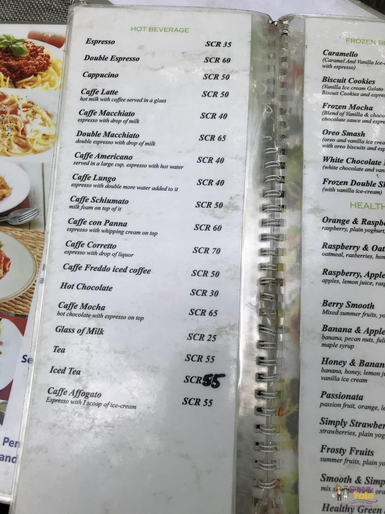 Mahe Yemek Fiyatları - La Dolce Vita